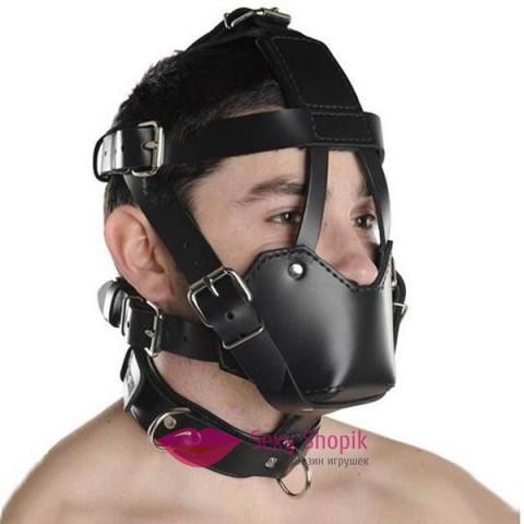 Фото Черный кожаный намордник с прочными ремнями Маски