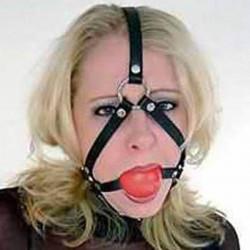 Черный кожаный намордник с   шаром-кляпом