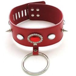 Современный красный кожаный ошейник