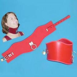 Красный кожаный широкий ошейник