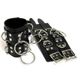 Черные кожаные широкие наручники