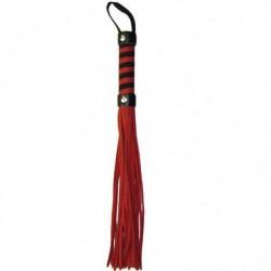 Строгая кожаная плеть для ролевых и BDSM игр красная