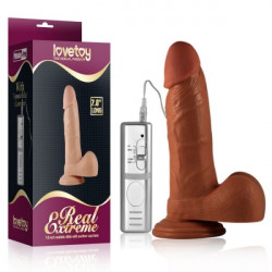 Реалистичный вибратор Real Extreme Vibrating Dildo, коричневый