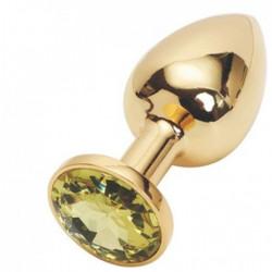 Золотая анальная пробка с желтым кристаллом, средняя