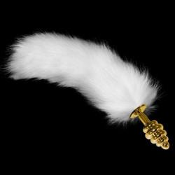 Золотая анальная втулка с длинным белым хвостом ребристая