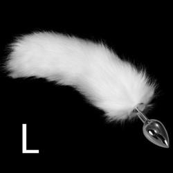 Великий срібний штекер + 35 см Пухнастий хвіст