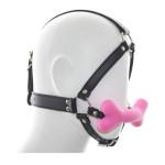 Фото Черный классический кляп для рта в форме розовой силиконовой косточки