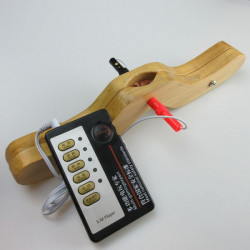 Electro-sex wooden penis / scrotum clamp - S