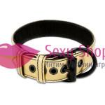 Фото Bondage Fetish Metallic Gold Pup Collar With Leash