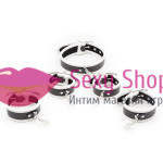 Фото Leather Neck Hand-foot Linked Cuffs White